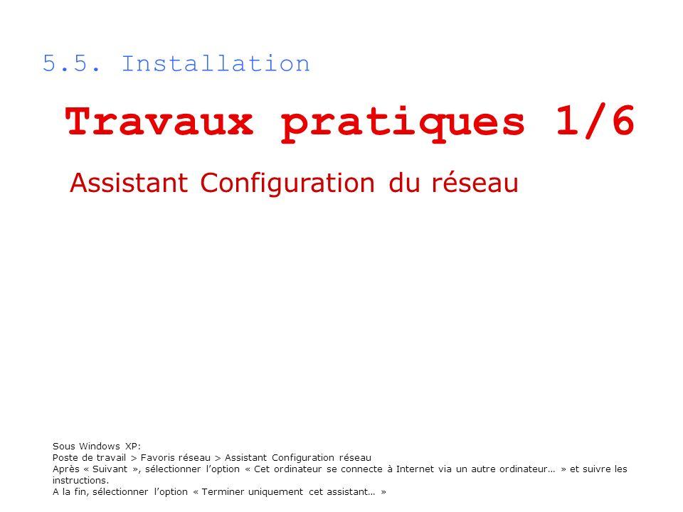 5.5. Installation Sous Windows XP: Poste de travail > Favoris réseau > Assistant Configuration réseau Après « Suivant », sélectionner loption « Cet or