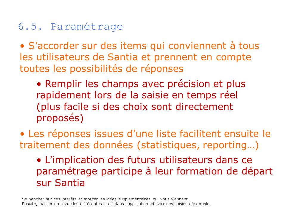 6.5. Paramétrage Saccorder sur des items qui conviennent à tous les utilisateurs de Santia et prennent en compte toutes les possibilités de réponses L
