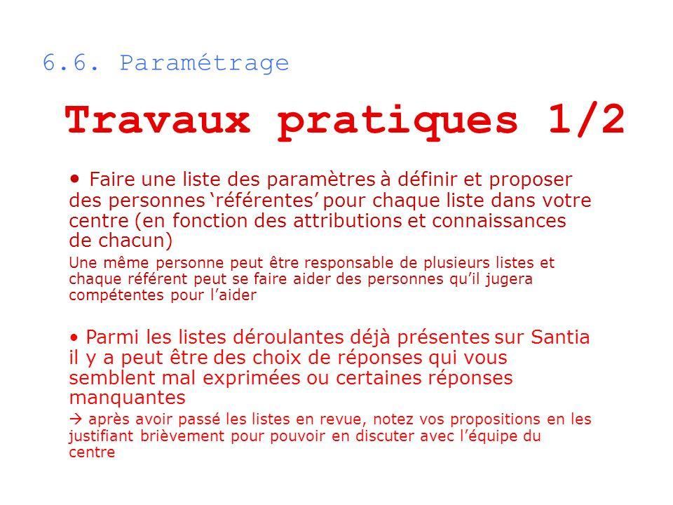 6.6. Paramétrage Travaux pratiques 1/2 Faire une liste des paramètres à définir et proposer des personnes référentes pour chaque liste dans votre cent