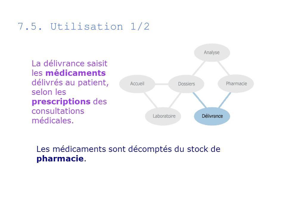La délivrance saisit les médicaments délivrés au patient, selon les prescriptions des consultations médicales. Les médicaments sont décomptés du stock