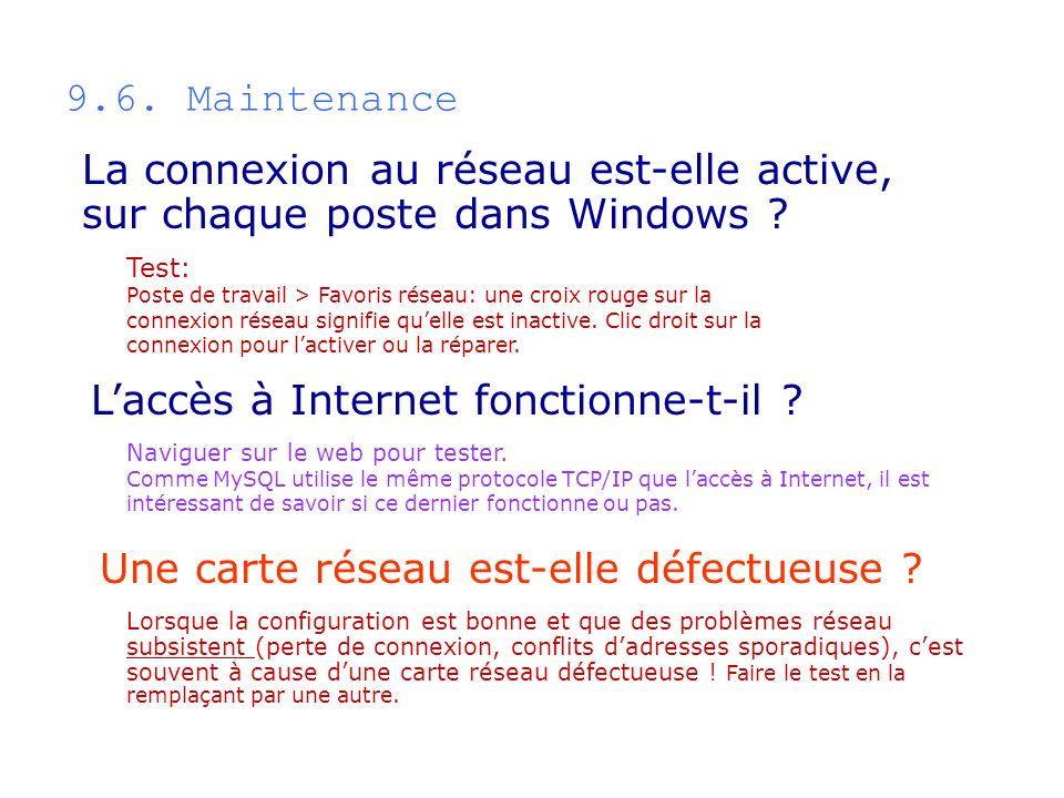 9.6. Maintenance Test: Poste de travail > Favoris réseau: une croix rouge sur la connexion réseau signifie quelle est inactive. Clic droit sur la conn