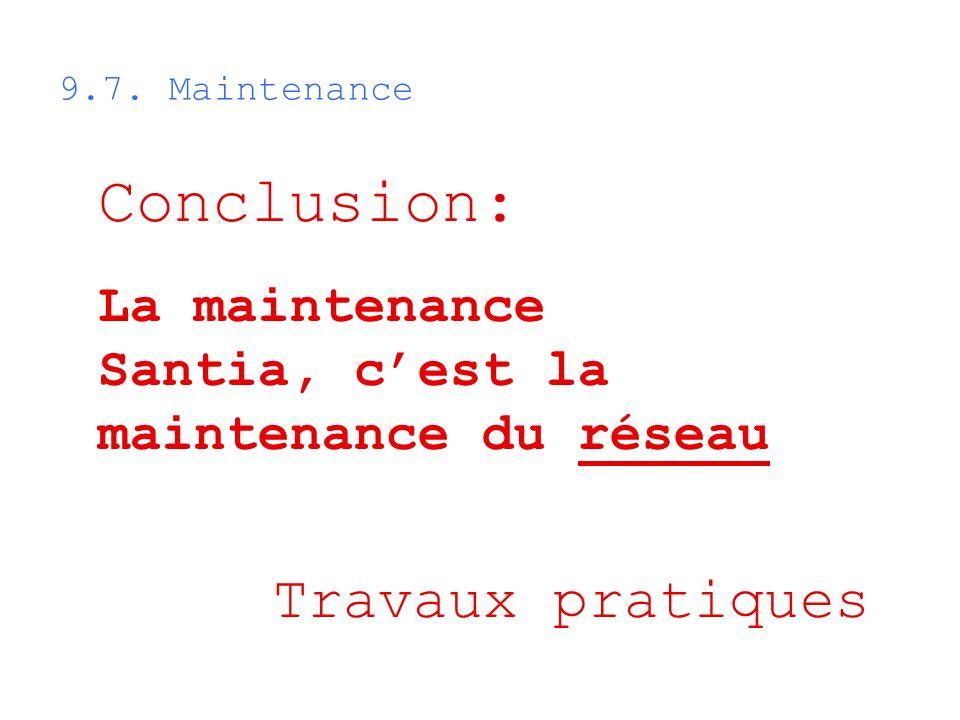 Conclusion: La maintenance Santia, cest la maintenance du réseau 9.7. Maintenance Travaux pratiques