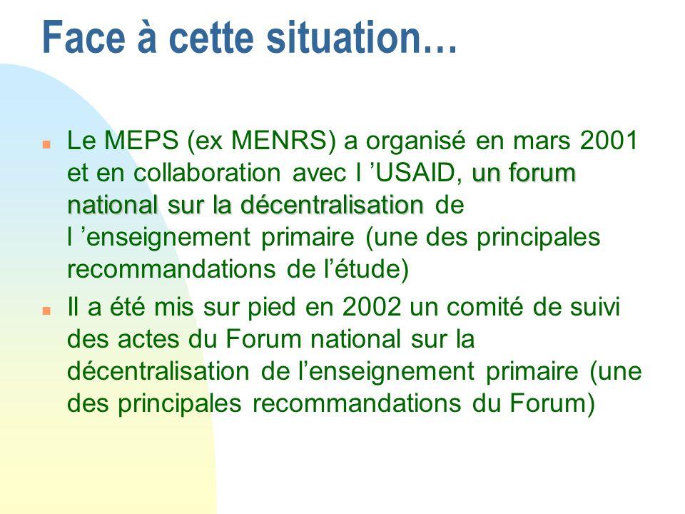 Face à cette situation… un forum national sur la décentralisation n Le MEPS (ex MENRS) a organisé en mars 2001 et en collaboration avec l USAID, un forum national sur la décentralisation de l enseignement primaire (une des principales recommandations de létude) n Il a été mis sur pied en 2002 un comité de suivi des actes du Forum national sur la décentralisation de lenseignement primaire (une des principales recommandations du Forum)