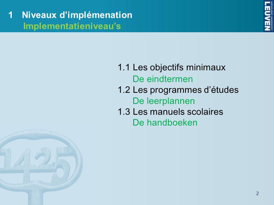 3 1.1Les objectifs minimaux De eindtermen Ecouter Luisteren Lire Lezen Prod.