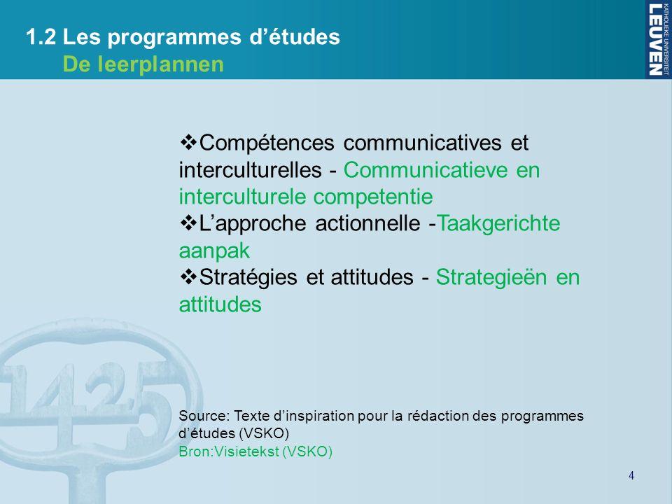 4 1.2 Les programmes détudes De leerplannen Compétences communicatives et interculturelles - Communicatieve en interculturele competentie Lapproche ac