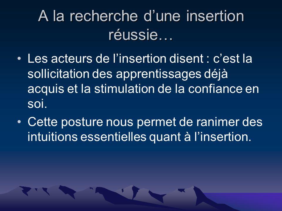 A la recherche dune insertion réussie… Les acteurs de linsertion disent : cest la sollicitation des apprentissages déjà acquis et la stimulation de la confiance en soi.