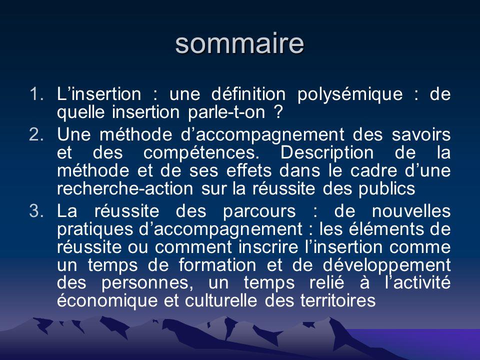 sommaire 1.Linsertion : une définition polysémique : de quelle insertion parle-t-on .