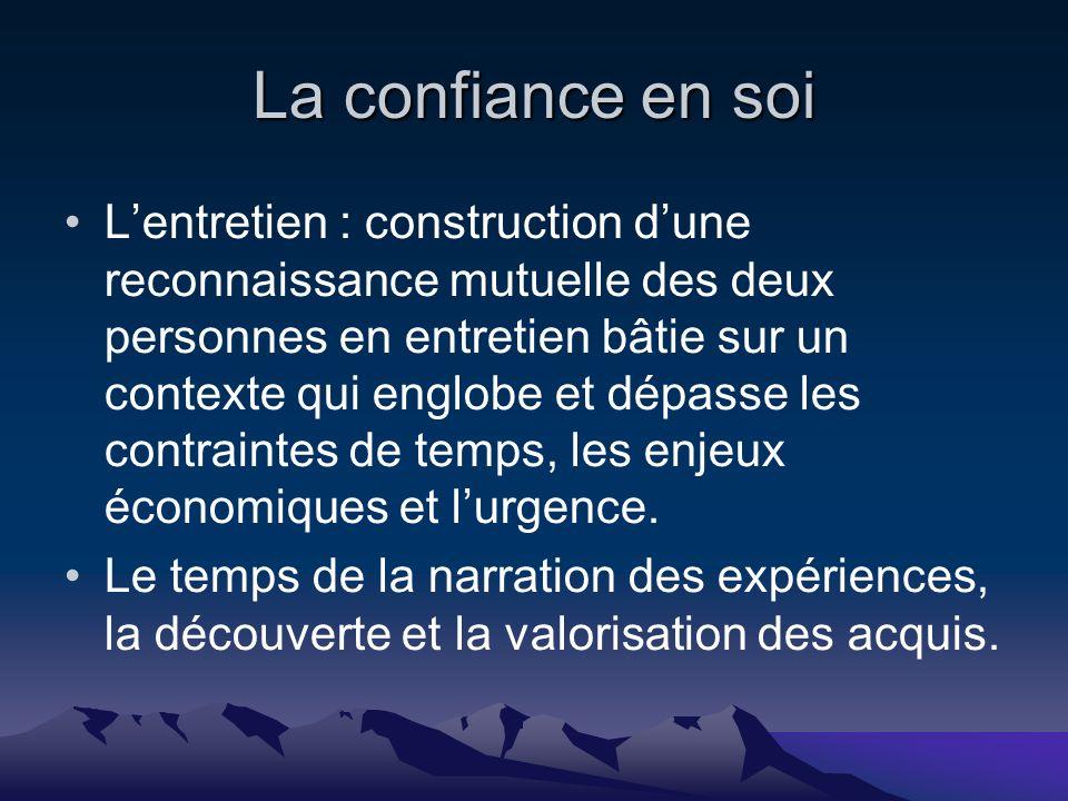 La confiance en soi Lentretien : construction dune reconnaissance mutuelle des deux personnes en entretien bâtie sur un contexte qui englobe et dépasse les contraintes de temps, les enjeux économiques et lurgence.