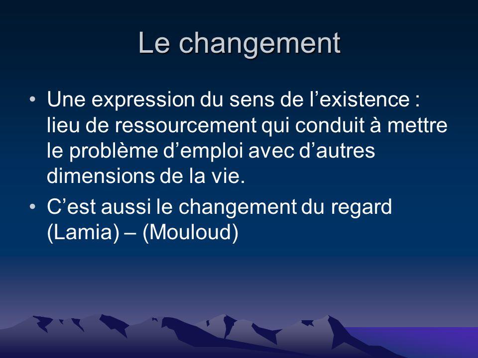 Le changement Une expression du sens de lexistence : lieu de ressourcement qui conduit à mettre le problème demploi avec dautres dimensions de la vie.