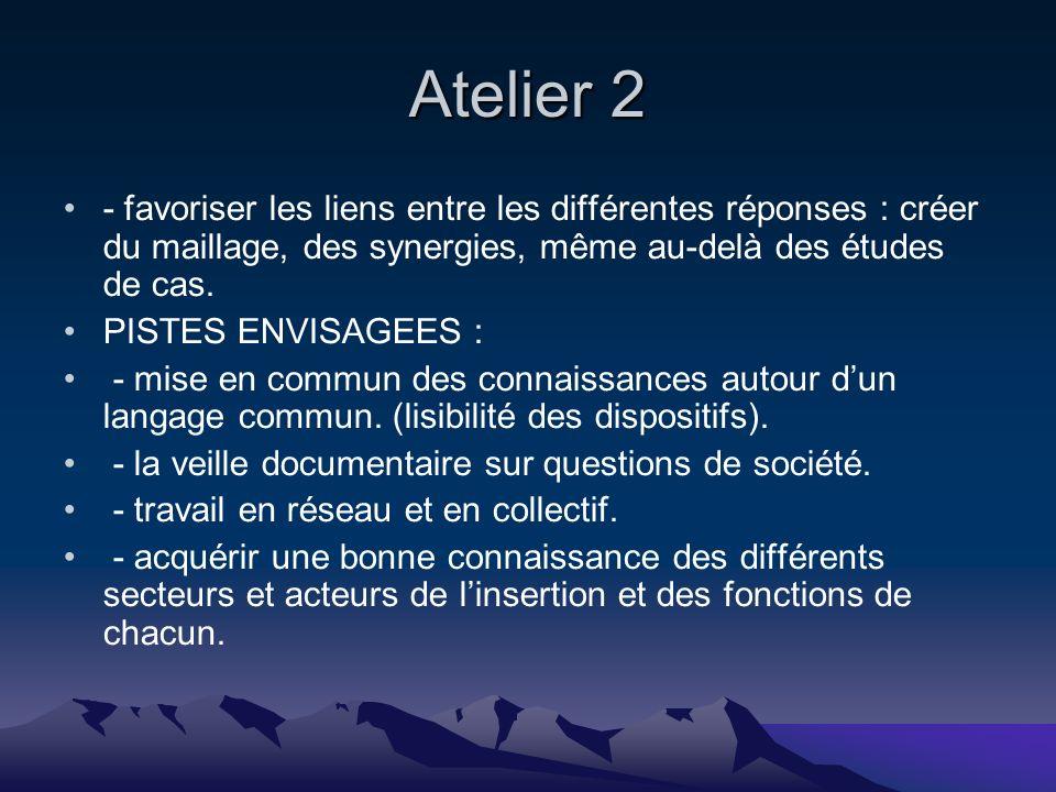 Atelier 2 - favoriser les liens entre les différentes réponses : créer du maillage, des synergies, même au-delà des études de cas.