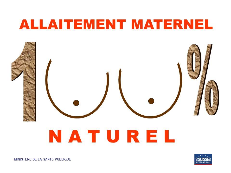 ALLAITEMENT MATERNEL N A T U R E L MINISTERE DE LA SANTE PUBLIQUE