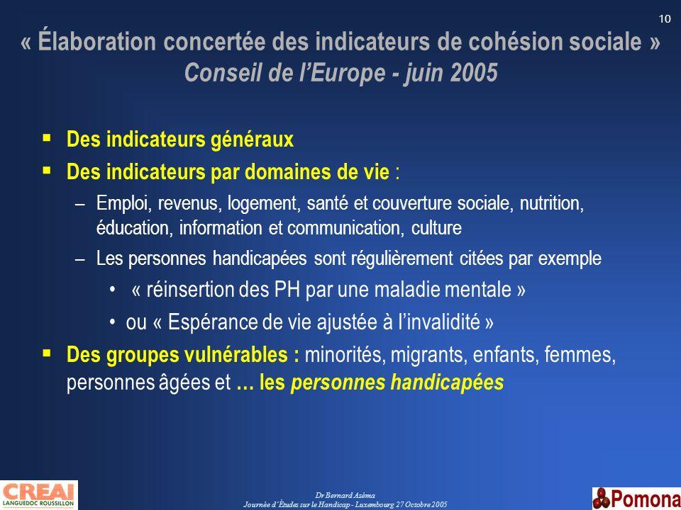Dr Bernard Azéma Journée dÉtudes sur le Handicap - Luxembourg 27 Octobre 2005 10 « Élaboration concertée des indicateurs de cohésion sociale » Conseil