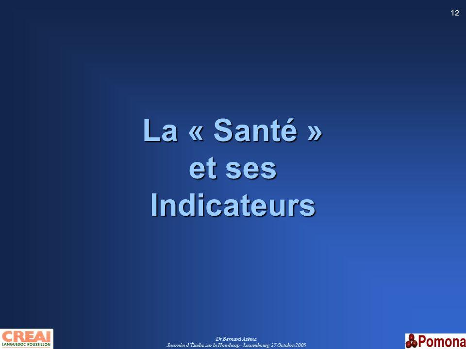Dr Bernard Azéma Journée dÉtudes sur le Handicap - Luxembourg 27 Octobre 2005 12 La « Santé » et ses Indicateurs