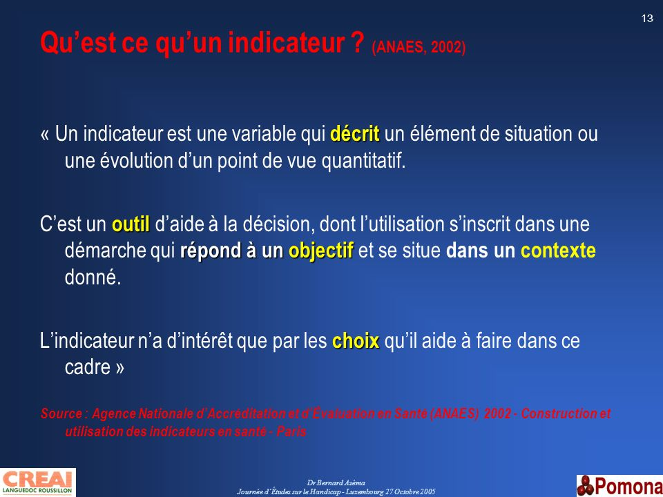 Dr Bernard Azéma Journée dÉtudes sur le Handicap - Luxembourg 27 Octobre 2005 13 Quest ce quun indicateur ? (ANAES, 2002) décrit « Un indicateur est u