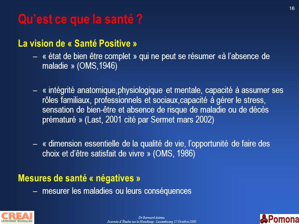 Dr Bernard Azéma Journée dÉtudes sur le Handicap - Luxembourg 27 Octobre 2005 16 Quest ce que la santé ? La vision de « Santé Positive » –« état de bi