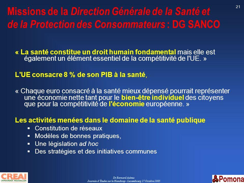 Dr Bernard Azéma Journée dÉtudes sur le Handicap - Luxembourg 27 Octobre 2005 21 Missions de la Direction Générale de la Santé et de la Protection des