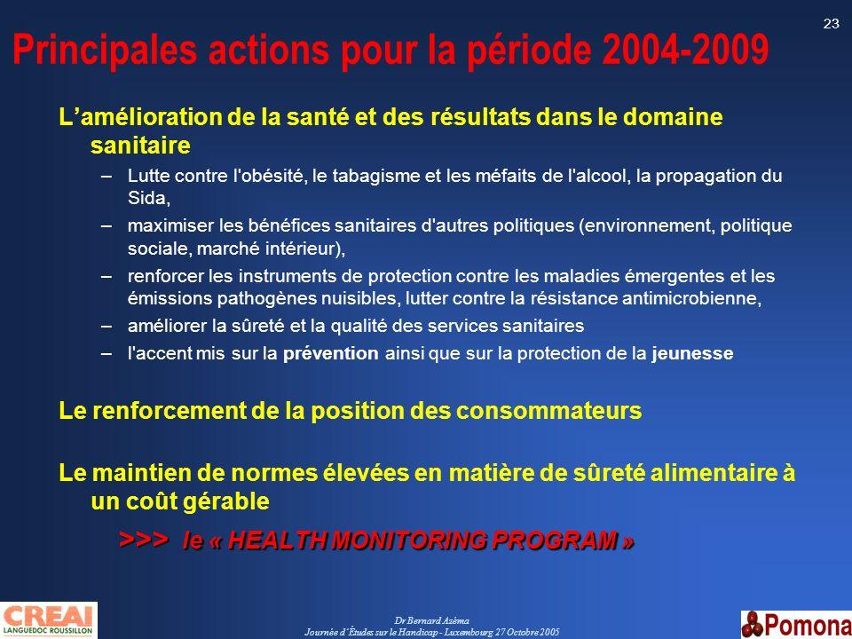 Dr Bernard Azéma Journée dÉtudes sur le Handicap - Luxembourg 27 Octobre 2005 23 Principales actions pour la période 2004-2009 Lamélioration de la san