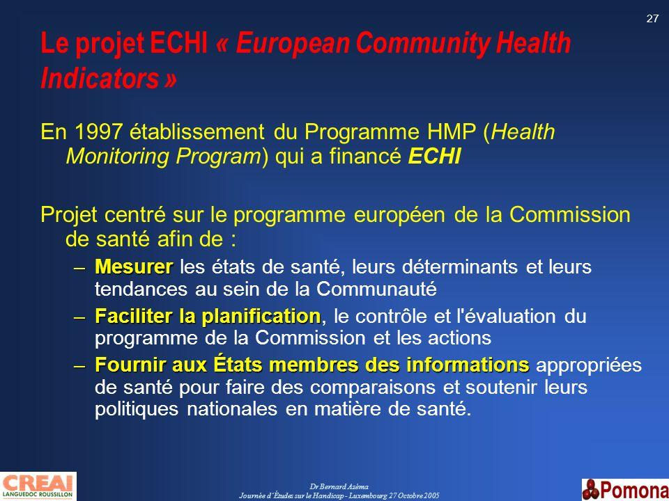 Dr Bernard Azéma Journée dÉtudes sur le Handicap - Luxembourg 27 Octobre 2005 27 Le projet ECHI « European Community Health Indicators » En 1997 établ