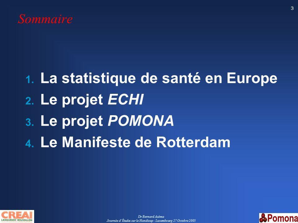 Dr Bernard Azéma Journée dÉtudes sur le Handicap - Luxembourg 27 Octobre 2005 3 Sommaire 1. La statistique de santé en Europe 2. Le projet ECHI 3. Le
