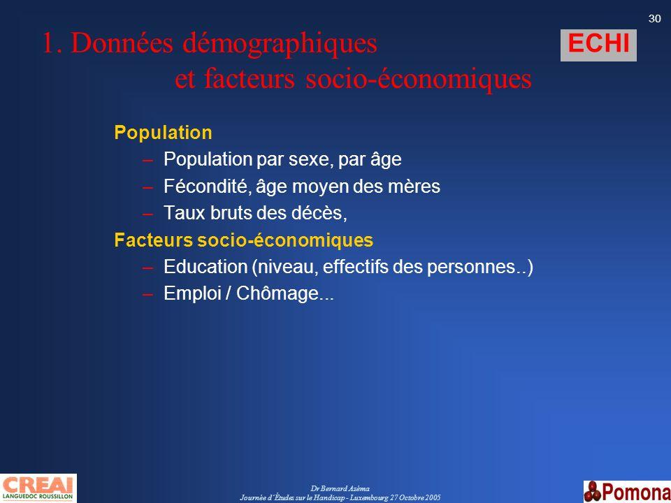 Dr Bernard Azéma Journée dÉtudes sur le Handicap - Luxembourg 27 Octobre 2005 30 1. Données démographiques et facteurs socio-économiques Population –P