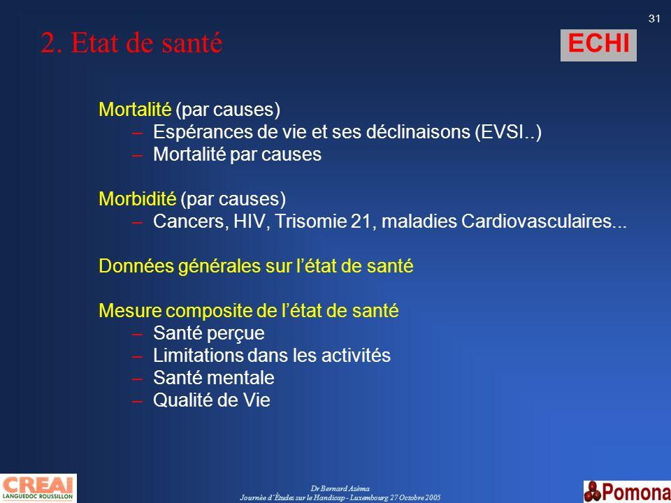 Dr Bernard Azéma Journée dÉtudes sur le Handicap - Luxembourg 27 Octobre 2005 31 2. Etat de santé Mortalité (par causes) –Espérances de vie et ses déc