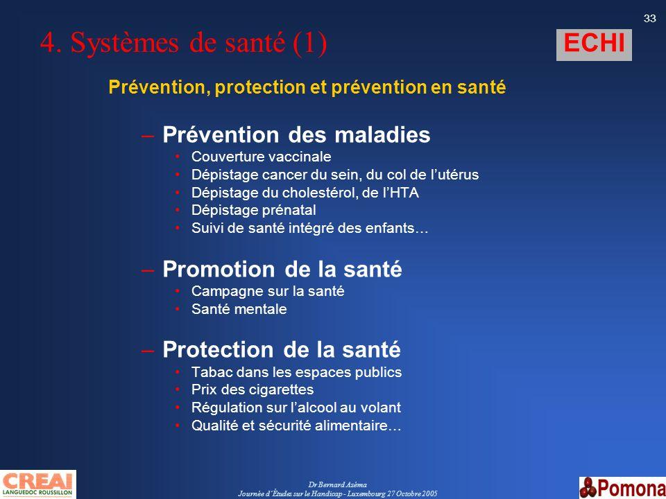 Dr Bernard Azéma Journée dÉtudes sur le Handicap - Luxembourg 27 Octobre 2005 33 4. Systèmes de santé (1) Prévention, protection et prévention en sant
