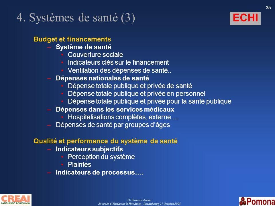 Dr Bernard Azéma Journée dÉtudes sur le Handicap - Luxembourg 27 Octobre 2005 35 4. Systèmes de santé (3) Budget et financements –Système de santé Cou