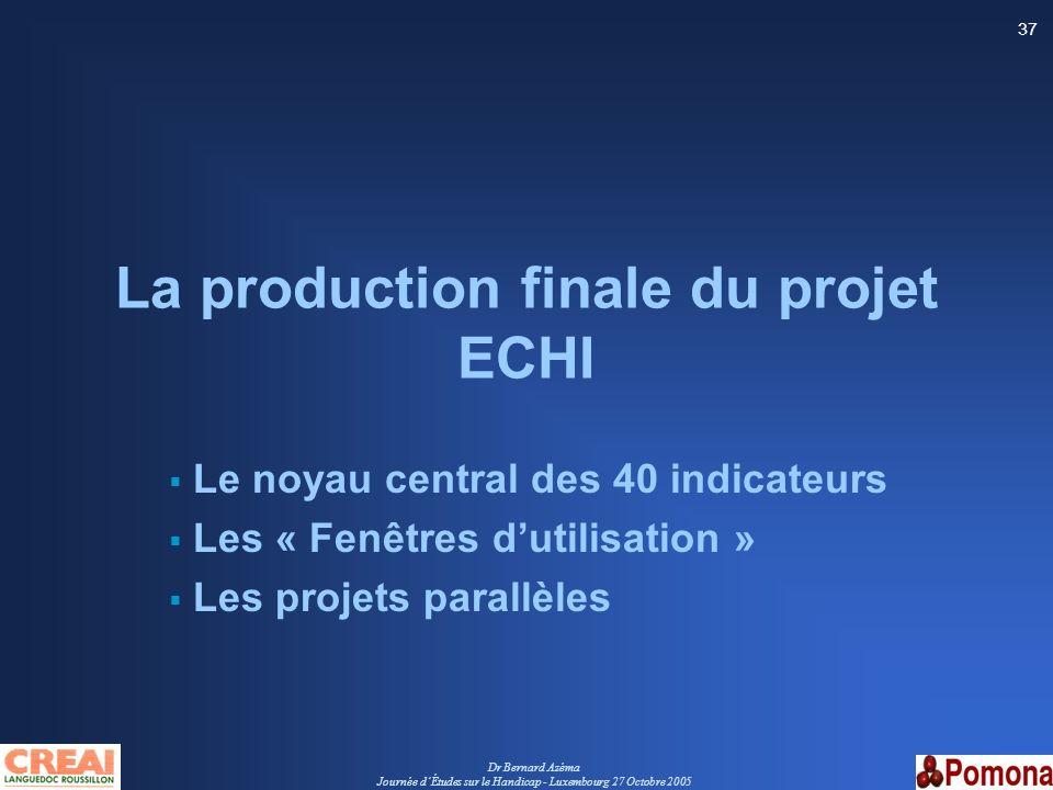 Dr Bernard Azéma Journée dÉtudes sur le Handicap - Luxembourg 27 Octobre 2005 37 La production finale du projet ECHI Le noyau central des 40 indicateu