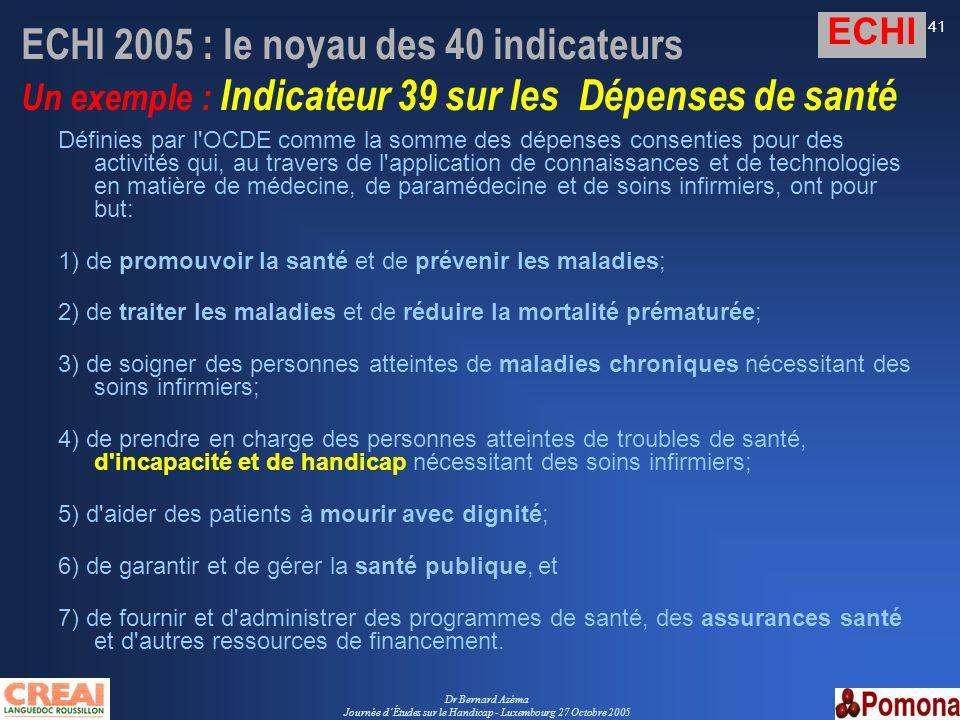 Dr Bernard Azéma Journée dÉtudes sur le Handicap - Luxembourg 27 Octobre 2005 41 ECHI 2005 : le noyau des 40 indicateurs Un exemple : Indicateur 39 su