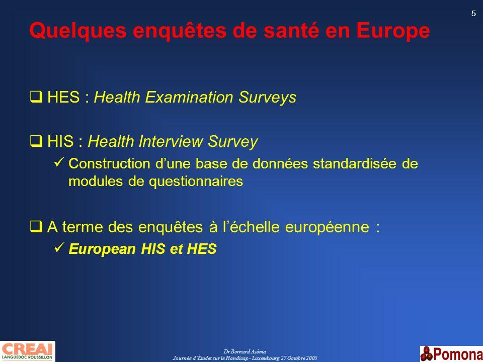Dr Bernard Azéma Journée dÉtudes sur le Handicap - Luxembourg 27 Octobre 2005 5 Quelques enquêtes de santé en Europe HES : Health Examination Surveys