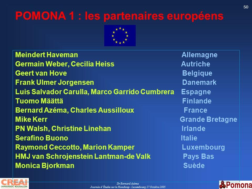Dr Bernard Azéma Journée dÉtudes sur le Handicap - Luxembourg 27 Octobre 2005 50 POMONA 1 : les partenaires européens Meindert Haveman Allemagne Germa