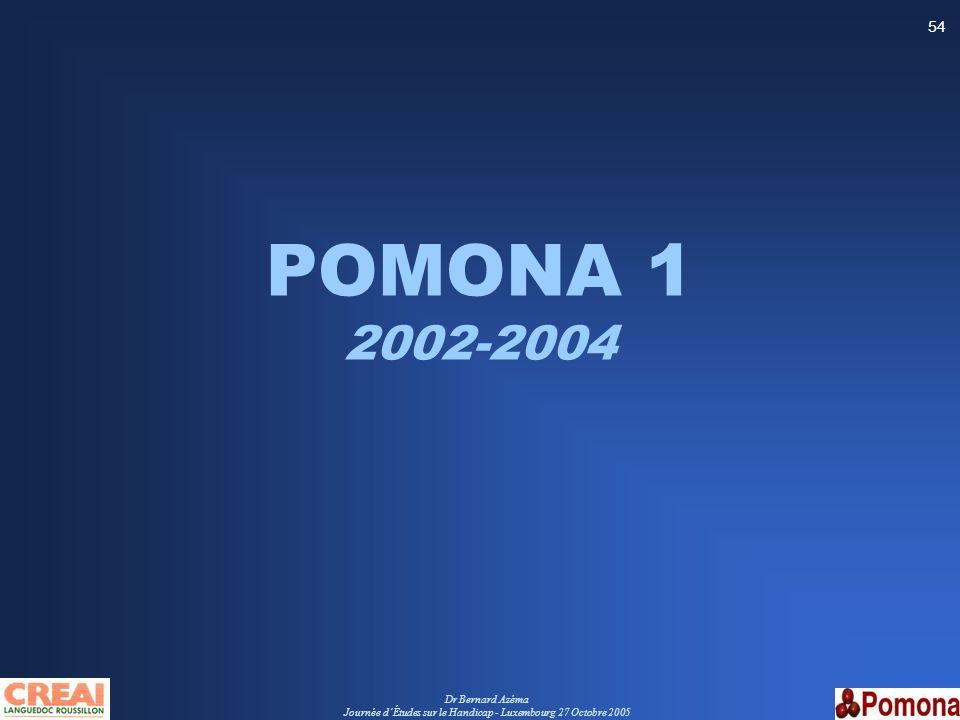 Dr Bernard Azéma Journée dÉtudes sur le Handicap - Luxembourg 27 Octobre 2005 54 POMONA 1 2002-2004