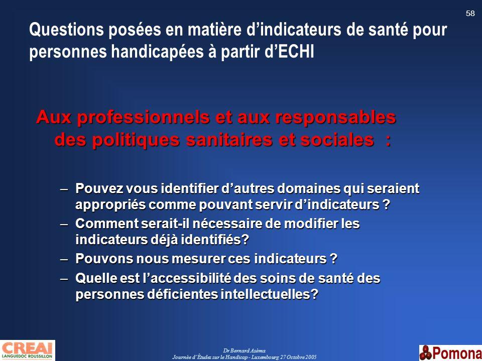 Dr Bernard Azéma Journée dÉtudes sur le Handicap - Luxembourg 27 Octobre 2005 58 Questions posées en matière dindicateurs de santé pour personnes hand