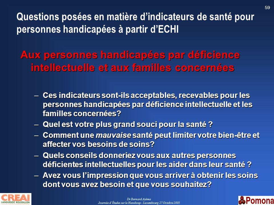 Dr Bernard Azéma Journée dÉtudes sur le Handicap - Luxembourg 27 Octobre 2005 59 Questions posées en matière dindicateurs de santé pour personnes hand