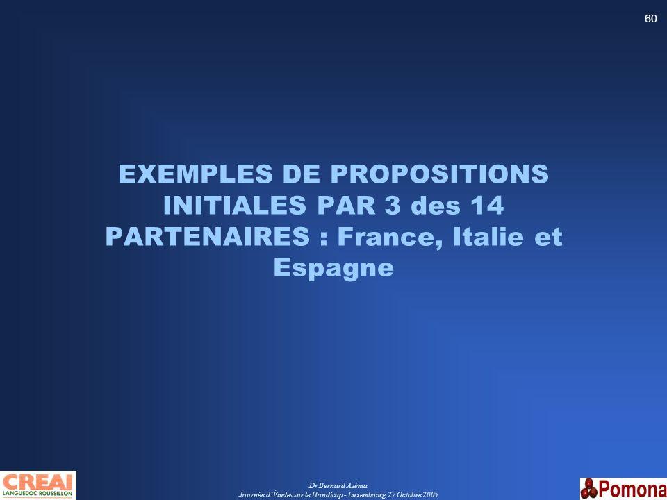 Dr Bernard Azéma Journée dÉtudes sur le Handicap - Luxembourg 27 Octobre 2005 60 EXEMPLES DE PROPOSITIONS INITIALES PAR 3 des 14 PARTENAIRES : France,