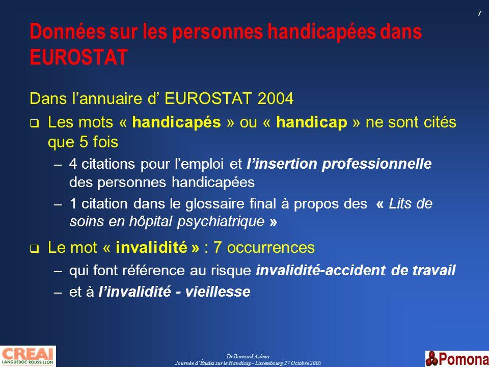 Dr Bernard Azéma Journée dÉtudes sur le Handicap - Luxembourg 27 Octobre 2005 7 Données sur les personnes handicapées dans EUROSTAT Dans lannuaire d E