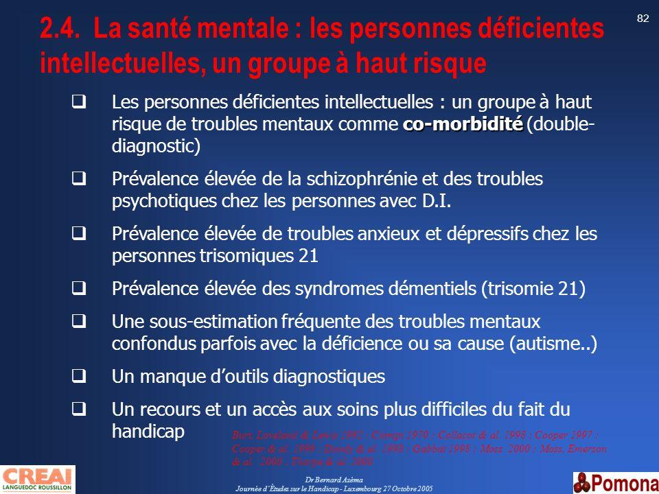 Dr Bernard Azéma Journée dÉtudes sur le Handicap - Luxembourg 27 Octobre 2005 82 co-morbidité Les personnes déficientes intellectuelles : un groupe à