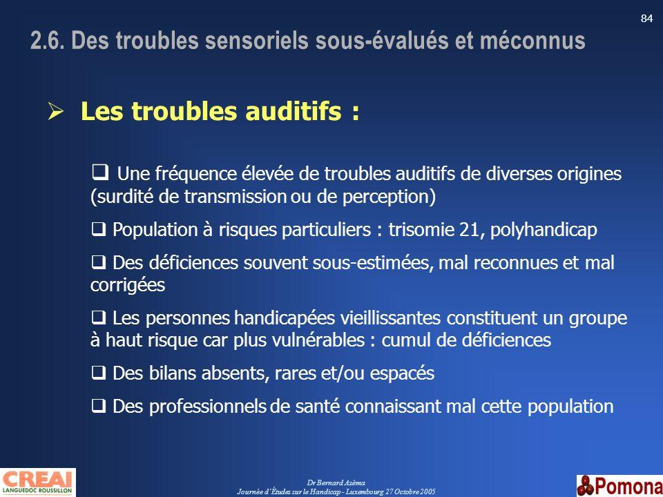 Dr Bernard Azéma Journée dÉtudes sur le Handicap - Luxembourg 27 Octobre 2005 84 Les troubles auditifs : Une fréquence élevée de troubles auditifs de