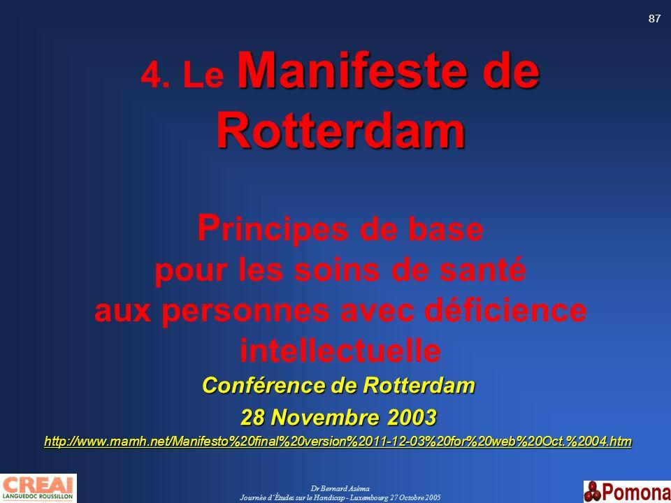Dr Bernard Azéma Journée dÉtudes sur le Handicap - Luxembourg 27 Octobre 2005 87 Manifeste de Rotterdam 4. Le Manifeste de Rotterdam P rincipes de bas