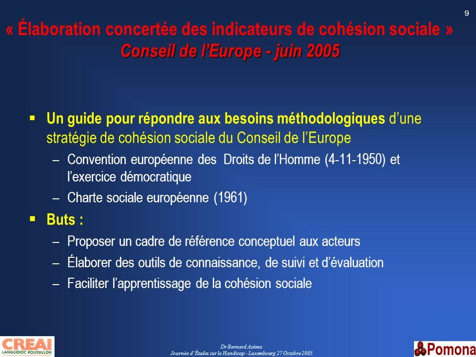 Dr Bernard Azéma Journée dÉtudes sur le Handicap - Luxembourg 27 Octobre 2005 9 Conseil de lEurope - juin 2005 « Élaboration concertée des indicateurs