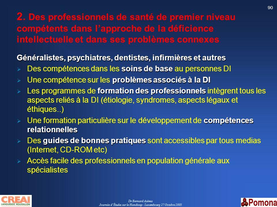 Dr Bernard Azéma Journée dÉtudes sur le Handicap - Luxembourg 27 Octobre 2005 90 2. Des professionnels de santé de premier niveau compétents dans lapp