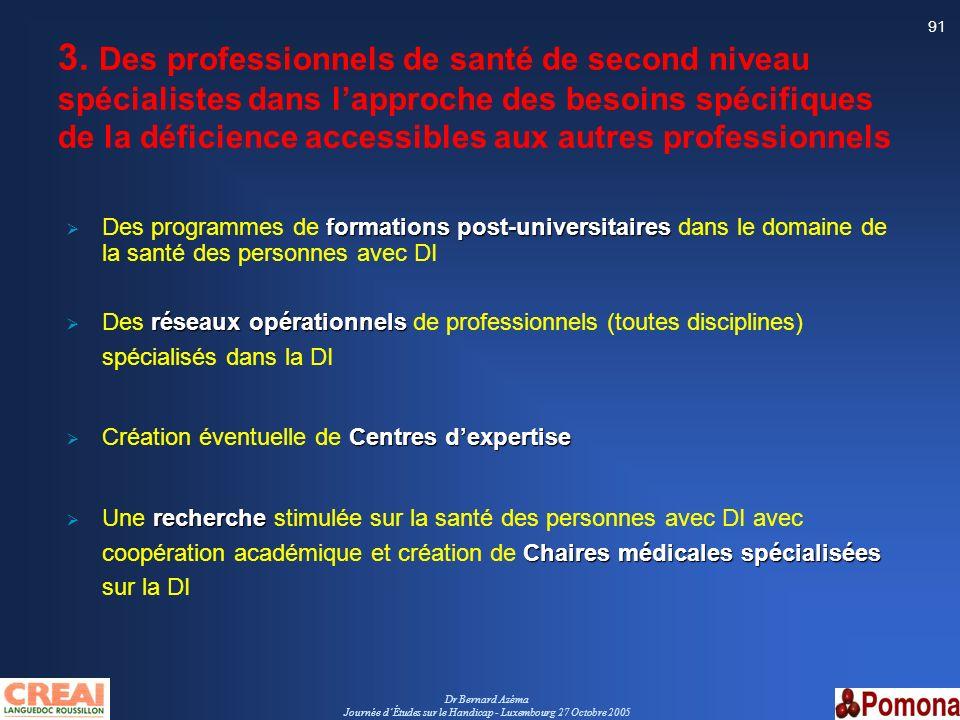Dr Bernard Azéma Journée dÉtudes sur le Handicap - Luxembourg 27 Octobre 2005 91 3. Des professionnels de santé de second niveau spécialistes dans lap