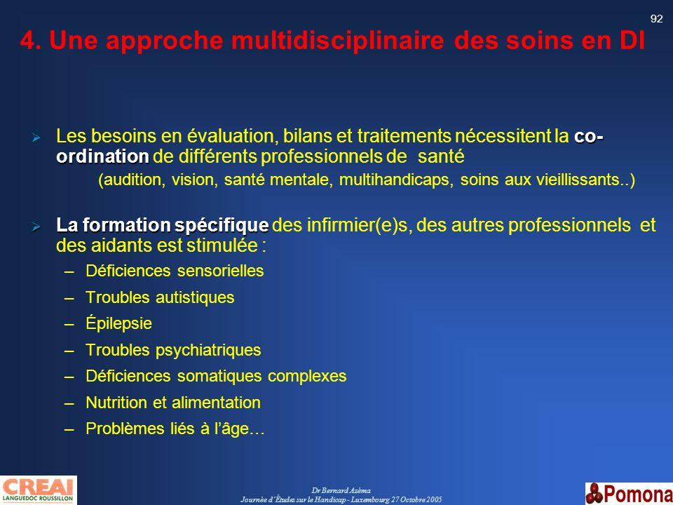 Dr Bernard Azéma Journée dÉtudes sur le Handicap - Luxembourg 27 Octobre 2005 92 4. Une approche multidisciplinaire des soins en DI co- ordination Les
