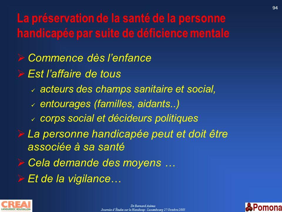Dr Bernard Azéma Journée dÉtudes sur le Handicap - Luxembourg 27 Octobre 2005 94 La préservation de la santé de la personne handicapée par suite de dé