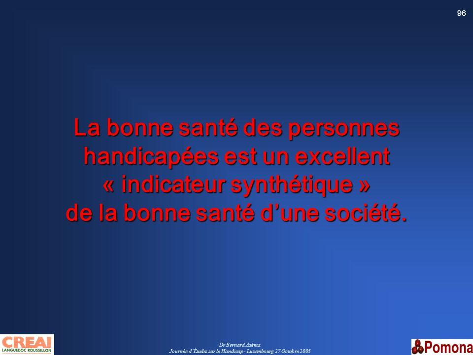 Dr Bernard Azéma Journée dÉtudes sur le Handicap - Luxembourg 27 Octobre 2005 96 La bonne santé des personnes handicapées est un excellent « indicateu