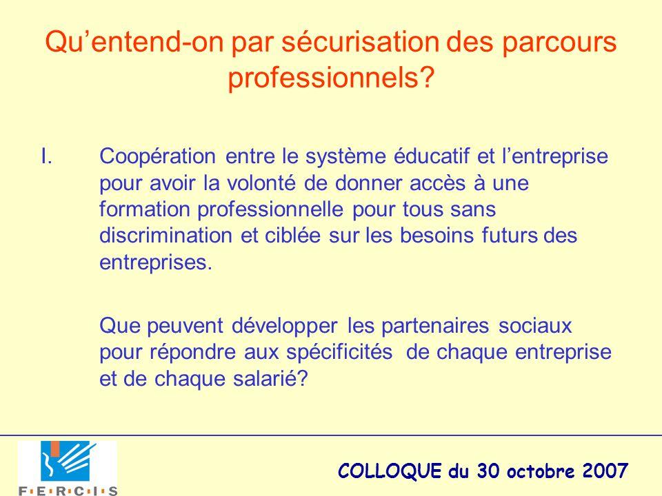 COLLOQUE du 30 octobre 2007 Quentend-on par sécurisation des parcours professionnels? I.Coopération entre le système éducatif et lentreprise pour avoi