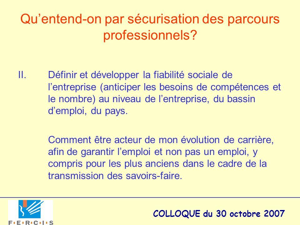 COLLOQUE du 30 octobre 2007 Quentend-on par sécurisation des parcours professionnels? II. Définir et développer la fiabilité sociale de lentreprise (a