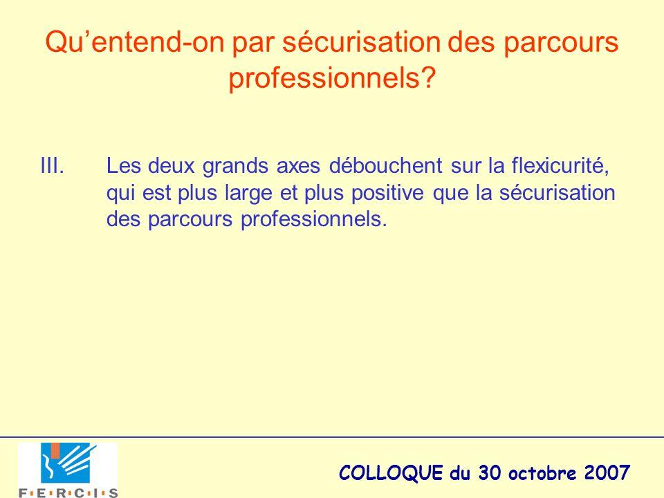 COLLOQUE du 30 octobre 2007 Quentend-on par sécurisation des parcours professionnels? III. Les deux grands axes débouchent sur la flexicurité, qui est