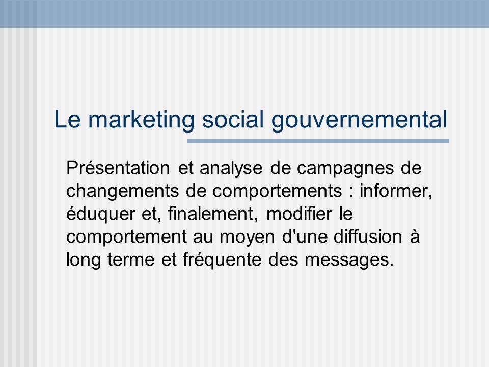 Le marketing social gouvernemental Présentation et analyse de campagnes de changements de comportements : informer, éduquer et, finalement, modifier l