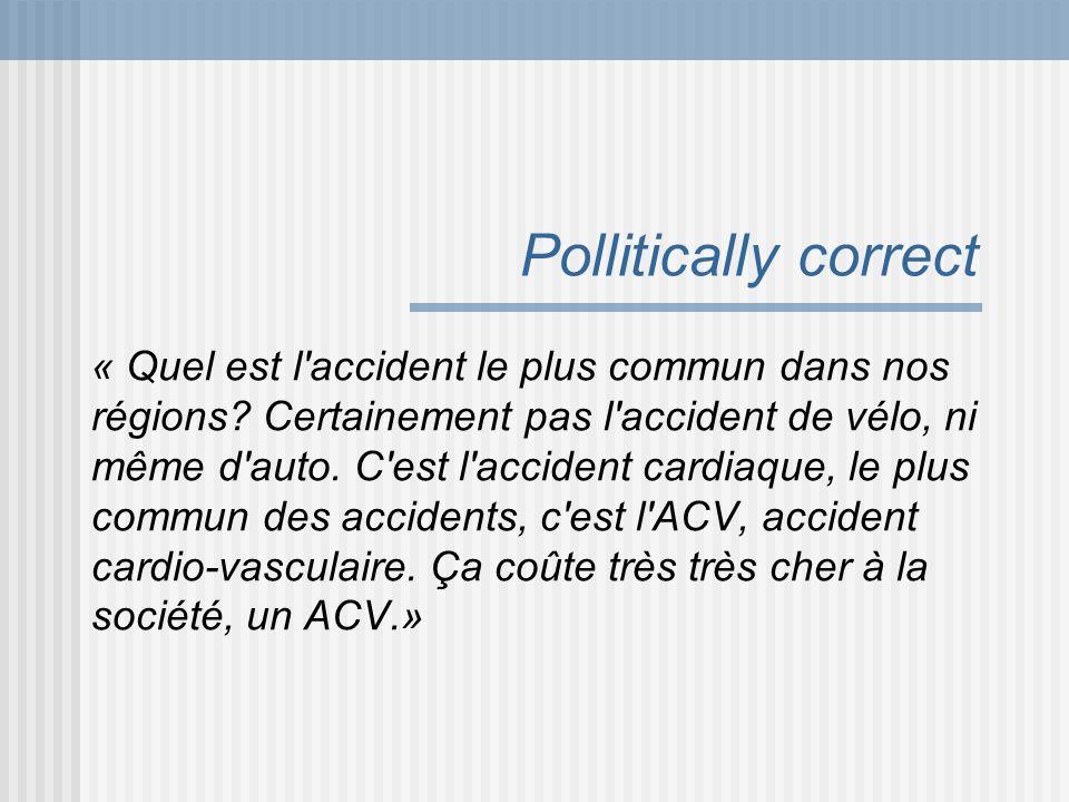 Pollitically correct « Quel est l'accident le plus commun dans nos régions? Certainement pas l'accident de vélo, ni même d'auto. C'est l'accident card